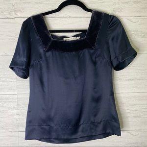 See by Chloe velvet trim navy silk blouse